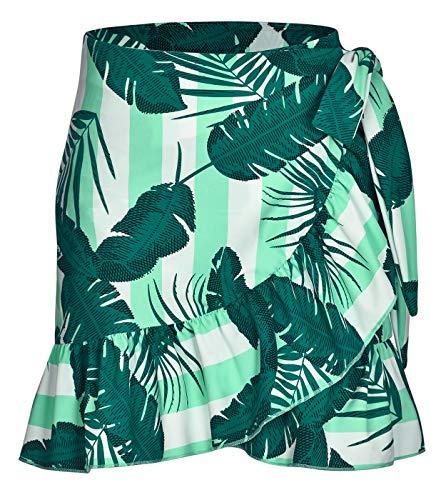 ChinFun Women's Ruffle Sarongs Beach Wrap Swimwear Bikini Tankini Cover Up Swim Skirts Swimdress Green Banana Leaf XS-M