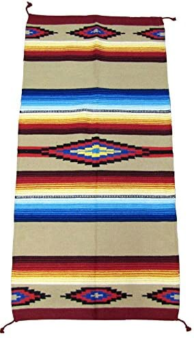 El Paso Designs Hand Woven Classic Mexican Serape Rug Classic Mexican Saltillo Diamond Design Rug – – Three Sizes to Choose from 32 x 64 , Tierra