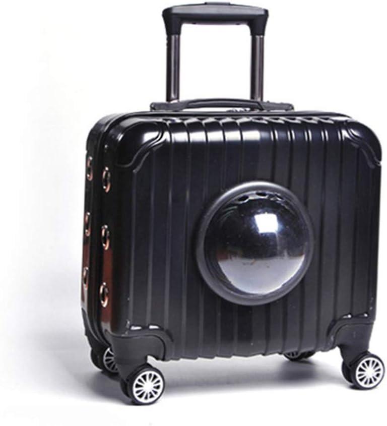 ZZZ Mochila para mascotas de color negro portátil cápsula espacial perro de gato rueda universal maleta transpirable bolso de malla viaje al aire libre senderismo camping anti-captura bolsa de coche C