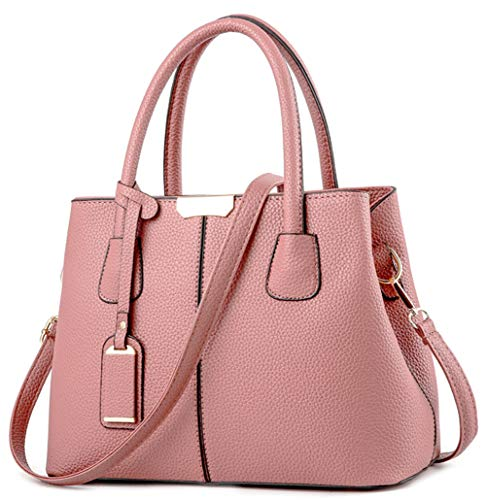 (Covelin Women's Top-handle Cross Body Handbag Middle Size Purse Durable Leather Tote Bag Pink)