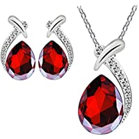 Sannysis Women Crystal Pendant Silver Plated Chain Necklace Stud Earring Jewelry Set