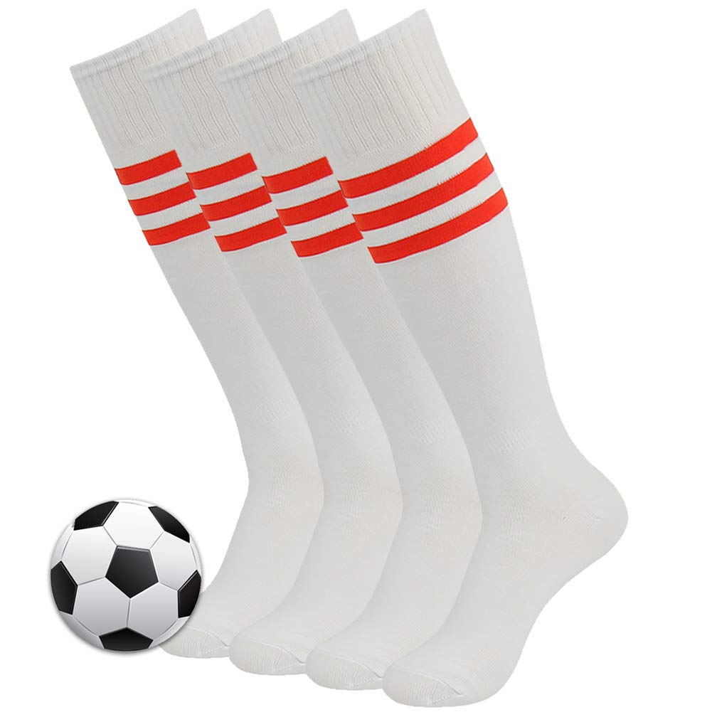 Long Compression Socks, 3street Men and Women Over Calf Breathable Soccer Football Skiing Tube Socks White+Red Stripe Back to School Gift Socks 4 Pairs by Three street