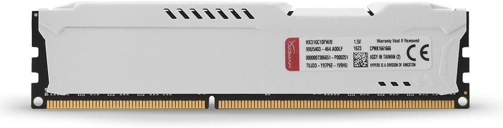 blanco 8 Fury HyperX HX316C10FW 8GB 1600MHz DDR3 CL10 240-pin UDIMM