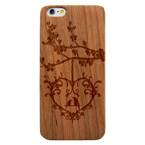 Laser Engraved Wood Case for Apple iPhone Samsung Galaxy Animal Love Summer Birds in a Heart Tree Swing for iPhone 6 or iPhone 6s Cherry (Cherry Oak Swing)