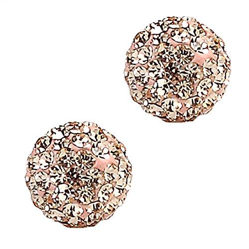8 Mm Peach (Fashion Jewelry Silver Plated Brass Rhinestone Crystal Balls Stud Earring 8mm Peach)