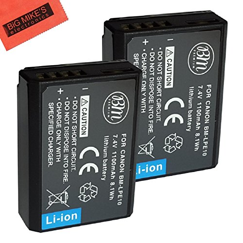 BM Premium 2-Pack of LP-E10 Batteries for Canon EOS Rebel T3, T5, T6, T7, Kiss X50, Kiss X70, EOS 1100D, EOS 1200D, EOS 1300D, EOS 2000D Digital Camera