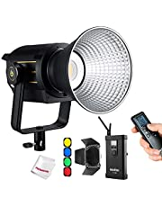 Godox VL150 LED Video Light with BD-04 Barndoor Kit, 150W 5600K Daylight-Balanced Bowens Mount,CRI 96 TLCI 95, 0-100% Dimming, Bluetooth and Wireless Radio Remote, with V-Mount Plate Controller Box