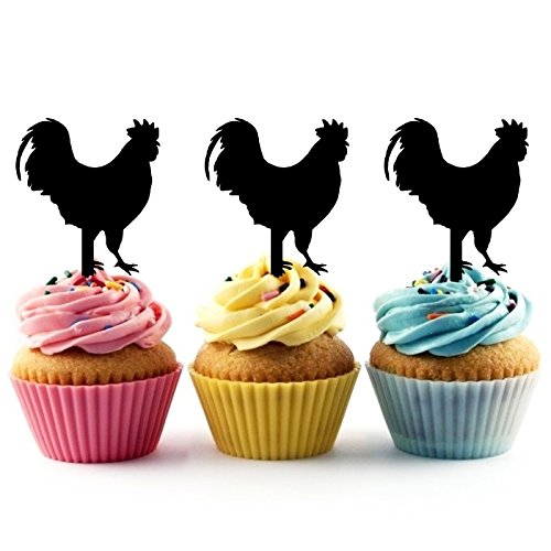 TA0122 Chicken Rooster Silhouette Party Wedding Birthday Acrylic Cupcake Toppers Decor 10 pcs ()