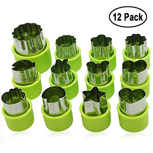 (Fruit Vegetable Cutter Shapes Set, Mini Pie, Fruit and Cookie Stamps Mold, Cookie Cutter Decorative Food, for Kids Baking and Food Supplement Tools Accessories Crafts for Christmas, Green (12 pcs))
