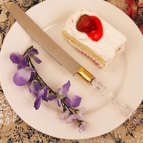 Crystal-Like Acrylic Handled Cake Knife With Gold Band - Set of 84 by R & B