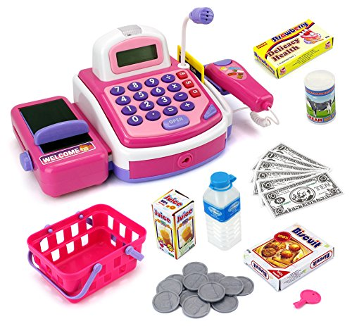 Velocity Toys Pretend Play Electronic Cash Register Toy Realistic Actions and Sounds, Pink