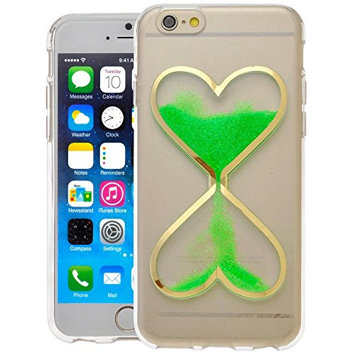 Price comparison product image Rejected all traditions® Creative Love Heart Glow in the Dark Dynamic Heart Design Quicksand Liquid Clock Hourglass Transparent Soft Glitter TPU Case for Apple iphone 5 5S SE( Green)
