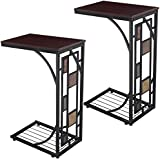 Tangkula 2 PCS Tray Side Table Snack Table Sofa Bed End Table Brown