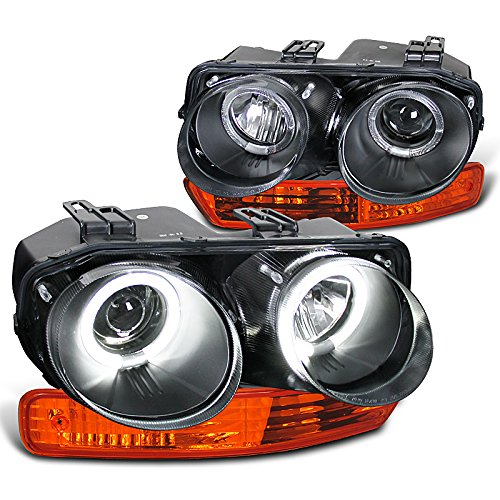 Acura Integra Headlight Assembly (Acura Integra Black Halo Projector Headlights, Amber Bumper Lights)