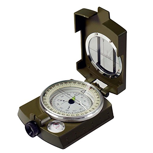 ary Bearing / Lensatic Compass, professionally liquid-dampened, Full Metal Body with Bearing Prism / Lens System - Military Green (K4580 GR US) (Lensatic Lens Compass)
