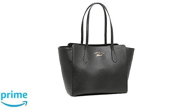 67d90b3d2dd91b Amazon.com: Gucci Swing Black Leather Small Shoulder Tote Bag 354408:  Clothing
