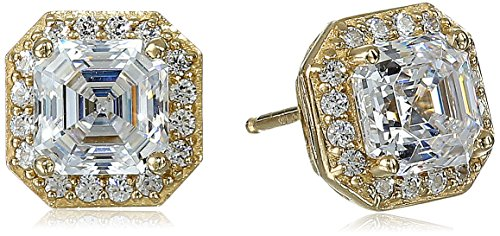 Yellow Gold Plated Sterling Silver Halo Earrings set with Asscher Cut Swarovski Zirconia (1 cttw)