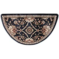 Traditional Oriental Ii Half Round Hearth Fireplace Rug Mat Brown - Black