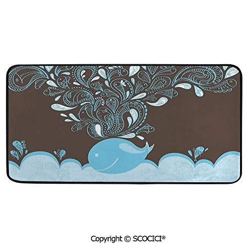 Soft Long Rug Rectangular Area mat for Bedroom Baby Room Decor Round Playhouse Carpet,Whale,Baloon Like Whale in The Ocean with Bubbles Cartoon Batik,39