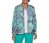 Alfred Dunner Women's Petite Scroll Patch Quilt Jacket, Multi, 14P