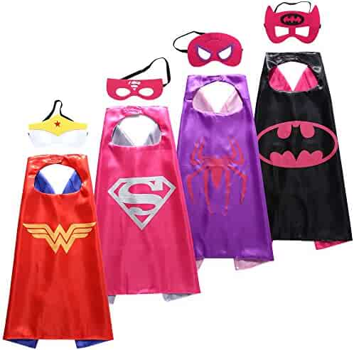 Zaleny Superhero Dress up Costumes - 4 Satin Capes and 4 Felt Masks