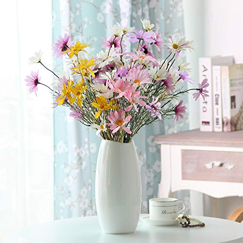 MHMJON 4pcs Artificial Daisy Flowers Bunches Fake Greenery Plants Silk Gerbera Daisy Floral Bouquets Indoor Outdoor Home Kitchen Office DIY Hotel Table Centerpieces Decoration (Blend Colors)