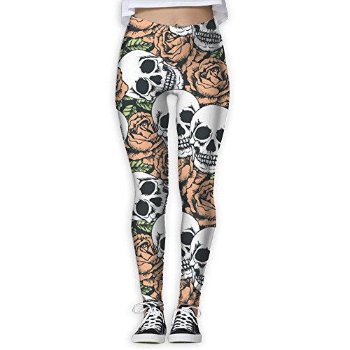 Rose Skull Nolvety Tummy Control Yoga Pants For Women Slim Yoga Leggings Athletic Sportwear Medium