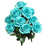 1-Bouquet-of-Turquoise-Tiffany-Blue-12-Open-Long-Stem-Roses-Silk-Wedding-Decoration-Flowers-Artificial-Arrangement-Bouquets