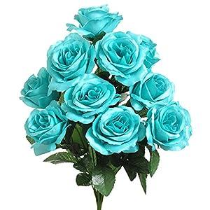 1 Bouquet of Turquoise Tiffany Blue ~ 12 Open Long Stem Roses Silk Wedding Decoration Flowers Artificial Arrangement Bouquets 1
