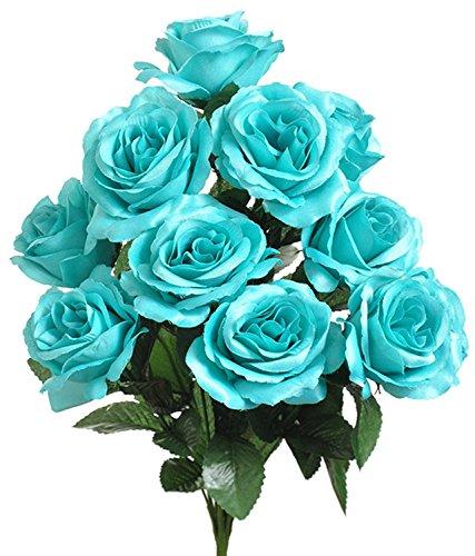 1 Bouquet of Turquoise Tiffany Blue ~ 12 Open Long Stem Roses Silk Wedding Decoration Flowers Artificial Arrangement Bouquets