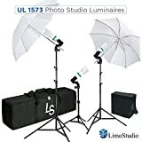 LimoStudio, AGG2101, 600W 5500K Photo Video Studio Continuous Lighting Kit UL1573 ETL Listed, Black and White Umbrella Reflector, Light Stand Tripod, Heavy Duty Carry Bag, Photography Studio