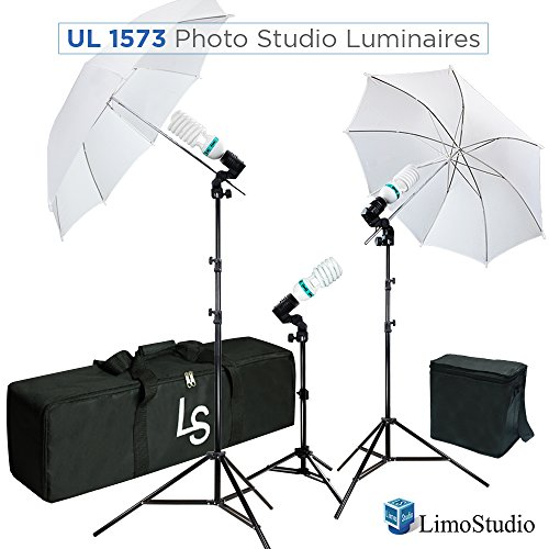 LimoStudio, AGG2101, 600W 5500K Photo Video Studio Continuous Lighting Kit UL1573 ETL Listed, Black and White Umbrella Reflector, Light Stand Tripod, Heavy Duty Carry Bag, Photography Studio by LimoStudio