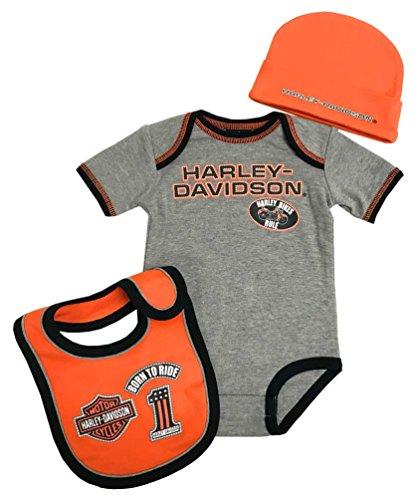 Creeper 1 Set (Harley-Davidson Baby Boys' 3 Piece Creeper, Bib & Hat Set, Gray 2551805 (0/3M))
