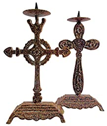 Manual Wrought Iron Celtic Cross Candle Stick Holders - Set of 2 - 8\