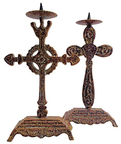 - Manual Wrought Iron Celtic Cross Candle Stick Holders - Set of 2 - 8