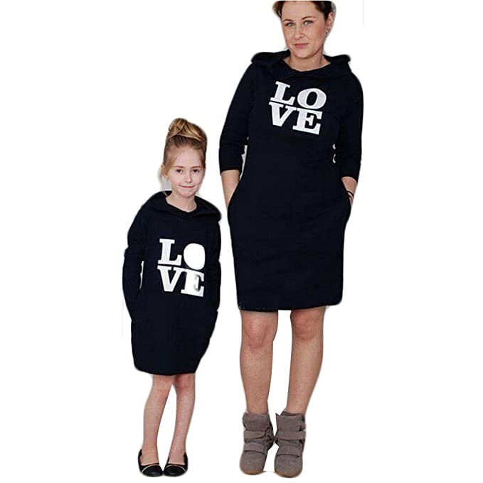 d6b35dc20c965 Love Printed Family Matching Hoodie Dress Outfits Parent Child Clothes Mommy  and Me Dresses (100