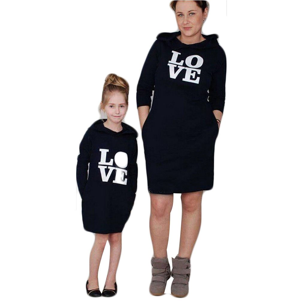 Love Printed Family Matching Hoodie Dress Outfits Parent Child Clothes Mommy and Me Dresses (S, Only for mom)