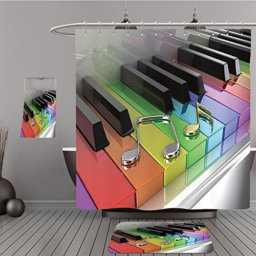 Missoni Home Garden (Uhoo Bathroom Suits & Shower Curtains Floor Mats And Bath Towels 104894033 The white piano with keys of different colours of a rainbow For Bathroom)