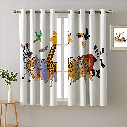 (Animals Grommets Curtains/Panels/Drapes,Colorful Jungle Animals Hippo Bat Parrot Giraffe Rhino Panda Safari Theme African,reducing Noise Darkening Curtains,55W x 63L)