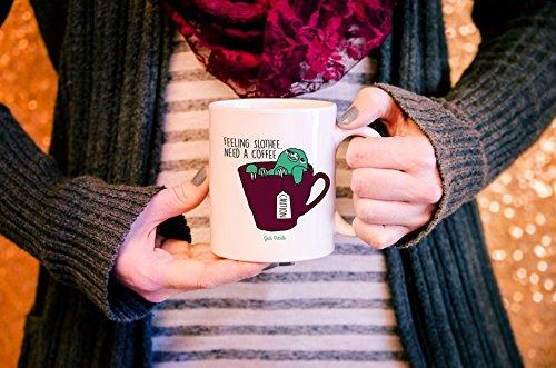 Geek Details Feeling Slothee, Need A Coffee Coffee Mug, 11 Oz, White -