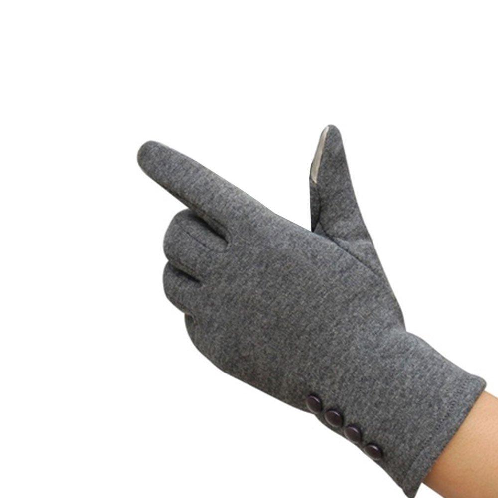 Tiptiper Guanti invernali, Guanti invernali invernali da donna Guanti caldi Touch Screen Handwear Cotton Full Finger (grigio)