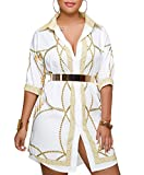 QUEENIE VISCONTI Womens African Print Dresses Summer White Gold Button Down 3/4 Sleeves Casual Shirt Dress Blouses M
