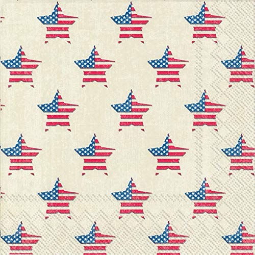 - 4th of July Patriotic Cocktail Napkins with US Flags, Perfect for Independent/Veterans Day Parties (Land That I love Stars, 40 Count)