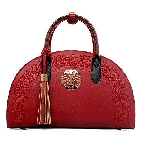 WenL Nuevos Bolsos De Moda Estilo étnico Popular Ladies Shoulder Bag Messenger Bag Totes Baguettes,Red Red