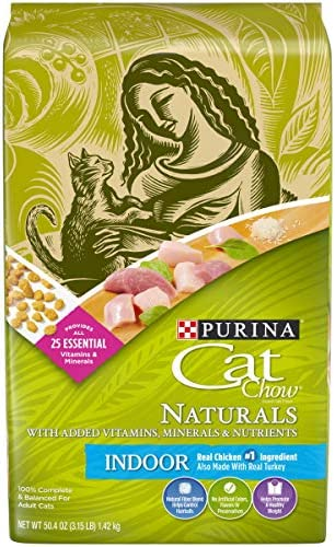 Purina Cat Chow Hairball, Weight Control, Indoor, Natural Dry Cat Food, Naturals Indoor – 4 3.15 lb. Bags