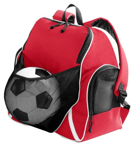 Augusta Sportswear Tri-Color Ball Backpack, RED/BLACK/WHITE, One Size (pack of 6) by Augusta Sportswear.