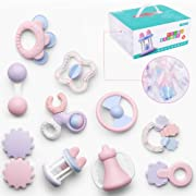 Deluxe 10 Piece Baby Rattle and Sensory Teether Play Set for Newborns | Suitable for 0-18 Months Old | Perfect Baby Shower Gift for Boys and Girls | Teething Toys BPA Free for Early Development