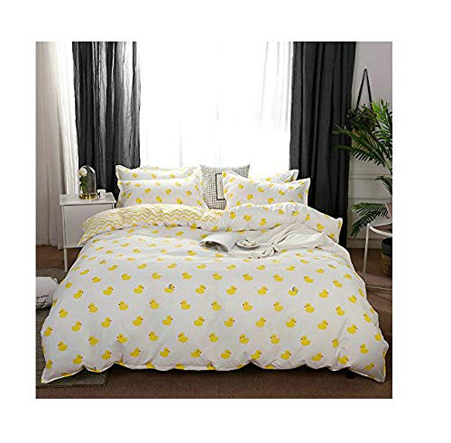 KFZ Bed Set (Twin Full Queen King Size) [Duvet Cover, Flat Sheet, Pillow Cases] No Comforter FD Polar Bear Deer Duck Fruit Animal Design for Kids Adults (Lovely Duck, Yellow, Twin 59