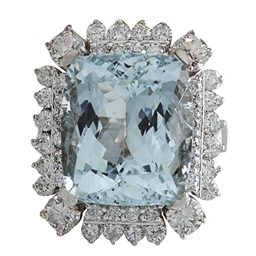 16.54 Carat Natural Blue Aquamarine and Diamond (F-G Color, VS1-VS2 Clarity) 14K White Gold Luxury Cocktail Ring for Women Exclusively Handcrafted in USA ()