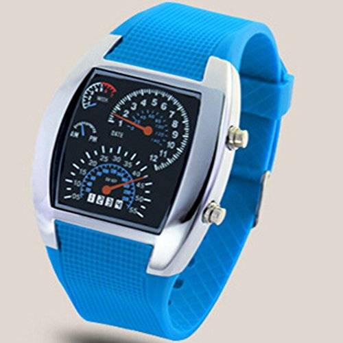Rally Dash - Dolland Men's Water Resistant Rally Tachometer Dashboard Digital LED Display Sports Watch Rubber Band ,Light Blue